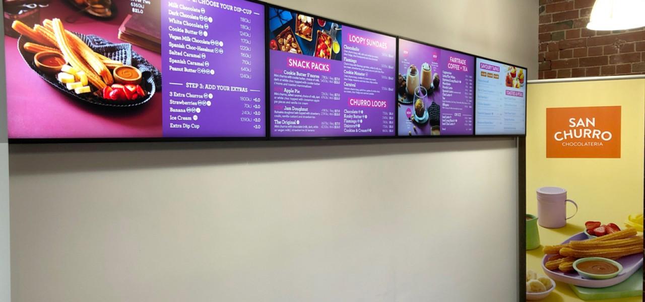 San Churro – Head Office Digital Menu Boards